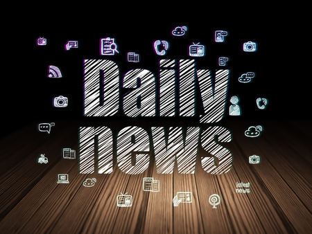 daily room: News concept: Glowing text Daily News,  Hand Drawn News Icons in grunge dark room with Wooden Floor, black background