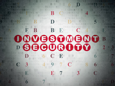 investment security: Protection concept: Painted red text Investment Security on Digital Data Paper background with Hexadecimal Code