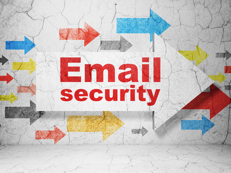 email security: Protection concept:  arrow with Email Security on grunge textured concrete wall background, 3D rendering