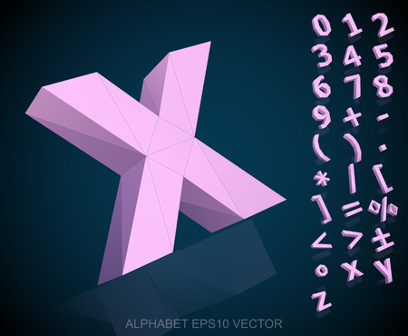 Set of Pink 3D polygonal Numbers And Mathematical Symbols with reflection. X