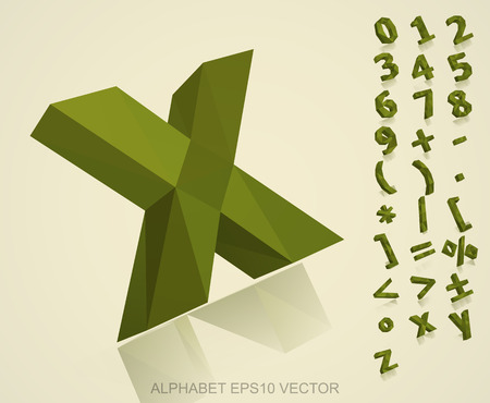 Set of Khaki 3D polygonal Numbers And Mathematical Symbols with reflection. X