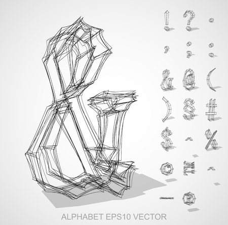 Abstract illustration of a sketched Symbols with transparent shadow. &