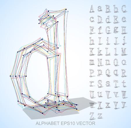 手のセットでスケッチした手紙の抽象的なイラスト描画、D の 3 D 文字
