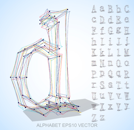 Abstract illustration of a sketched Letters with Set of hand drawn 3D Letters, D Ilustração