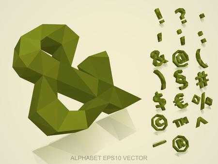 Set of Khaki 3D polygonal Symbols with reflection. &
