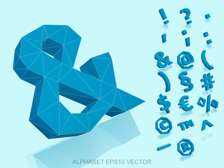 Set of Blue 3D polygonal Symbols with reflection. Low poly alphabet collection. &