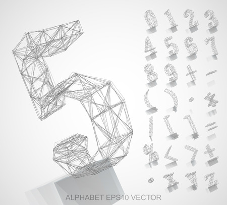 deg: Abstract illustration of a Pencil sketched Numbers And Mathematical Symbols with Reflection. 5