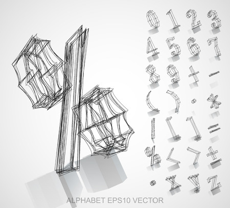 Abstract illustration of a Ink sketched Numbers And Mathematical Symbols with Reflection. %