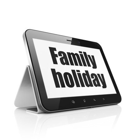 holiday display: Vacation concept: Tablet Computer with  black text Family Holiday on display,  Tag Cloud background, 3D rendering