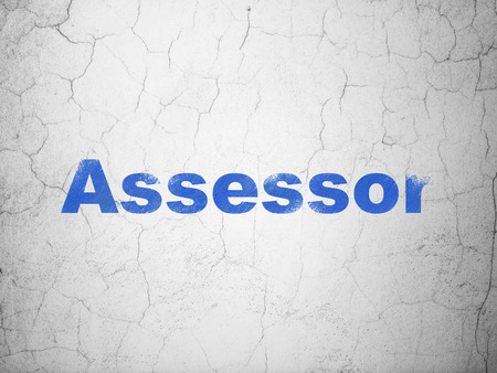 Insurance concept: Blue Assessor on textured concrete wall background Imagens
