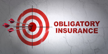 obligatory: Success Insurance concept: arrows hitting the center of target, Red Obligatory Insurance on wall background, 3D rendering Stock Photo