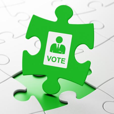 agitation: Politics concept: Ballot on Green puzzle pieces background, 3D rendering