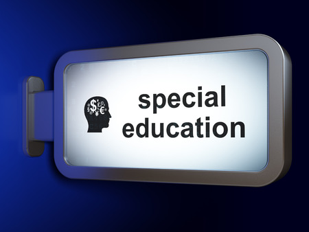 special education: Education concept: Special Education and Head With Finance Symbol on advertising billboard background, 3D rendering Stock Photo