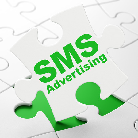 Advertising concept: SMS Advertising on White puzzle pieces background, 3D rendering