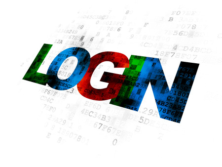 Concept de sécurité: texte multicolore pixelisé Connexion sur fond numérique