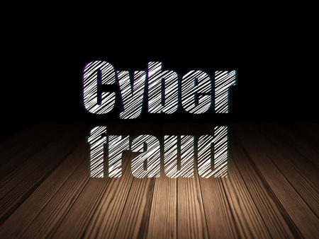 Privacy concept: Glowing text Cyber Fraud in grunge dark room with Wooden Floor, black background