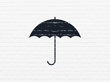 Safety concept: Painted black Umbrella icon on White Brick wall background Stock Photo