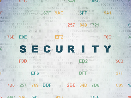 privat: Safety concept: Painted blue text Security on Digital Data Paper background with Hexadecimal Code Stock Photo