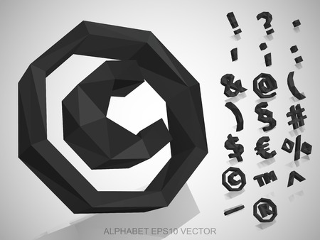 registered mail: Set of Gray 3D polygonal Symbols with reflection. Low poly alphabet collection.