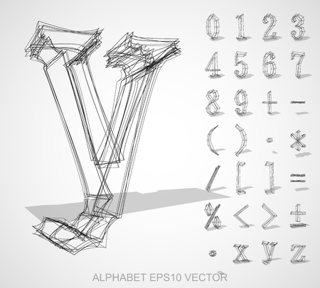 deg: Abstract illustration of a sketched Numbers And Mathematical Symbols with transparent shadow. Y
