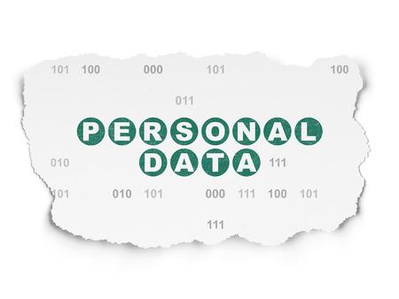datos personales: Concepto de la información: Pintado texto verde Datos Personales en fondo de papel rasgado con el código binario Foto de archivo