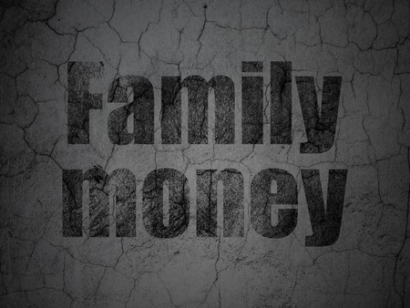 black family: Banking concept: Black Family Money on grunge textured concrete wall background