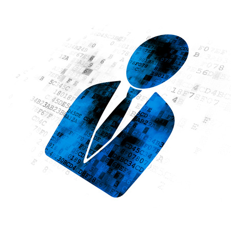pixelated: Finance concept: Pixelated blue Business Man icon on Digital background