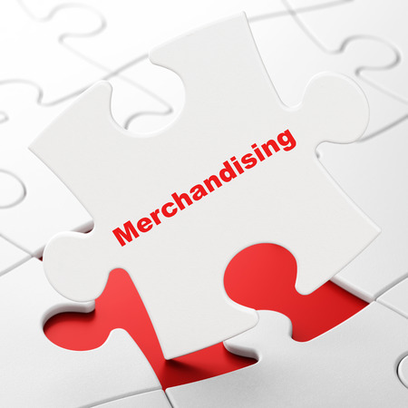 Marketing concept: Merchandising on White puzzle pieces background, 3D rendering