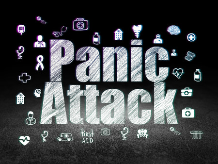 panic attack: Healthcare concept: Glowing text Panic Attack,  Hand Drawn Medicine Icons in grunge dark room with Dirty Floor, black background