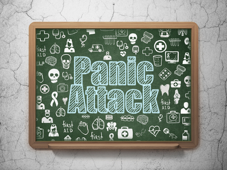 panic attack: Medicine concept: Chalk Blue text Panic Attack on School board background with  Hand Drawn Medicine Icons, 3D Rendering