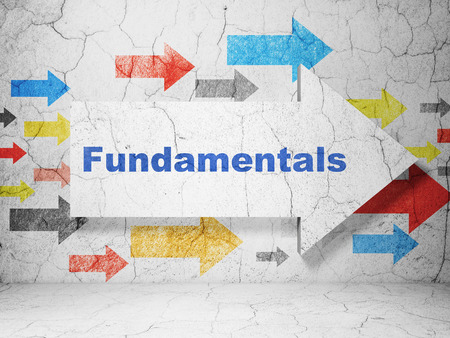 fundamentals: Science concept:  arrow with Fundamentals on grunge textured concrete wall background, 3D rendering Stock Photo