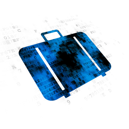 Travel concept: Pixelated blue Bag icon on Digital background Stock Photo