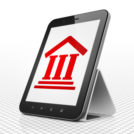 building regulations: Law concept: Tablet Computer with red Courthouse icon on display, 3D rendering Stock Photo