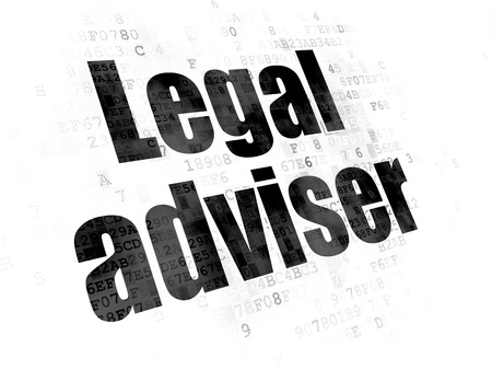 data protection act: Law concept: Pixelated black text Legal Adviser on Digital background Stock Photo