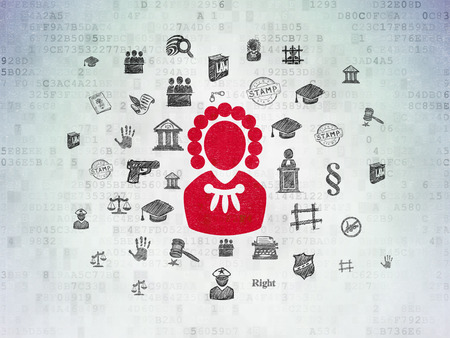 Law concept: Painted red Judge icon on Digital Data Paper background with  Hand Drawn Law Icons