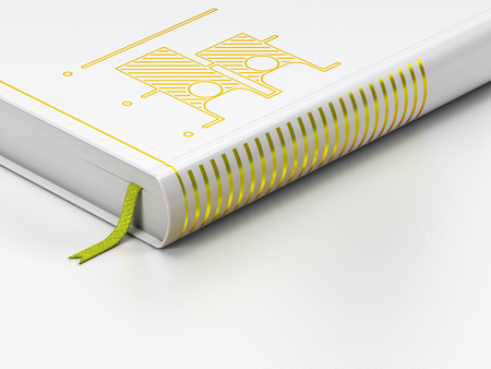 closed community: Political concept: closed book with Gold Election icon on floor, white background, 3D rendering
