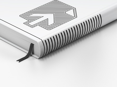 up code: Web design concept: closed book with Black Upload icon on floor, white background, 3D rendering