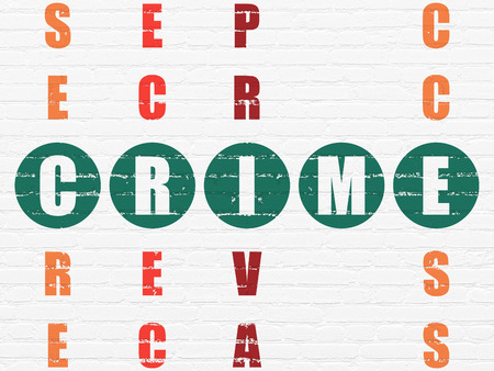 crime solving: Safety concept: Painted green word Crime in solving Crossword Puzzle