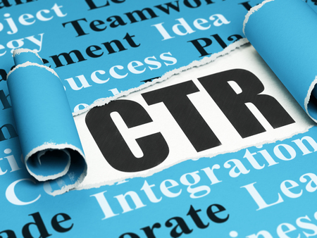 Business concept: black text CTR under the curled piece of Blue torn paper with  Tag Cloud, 3D rendering