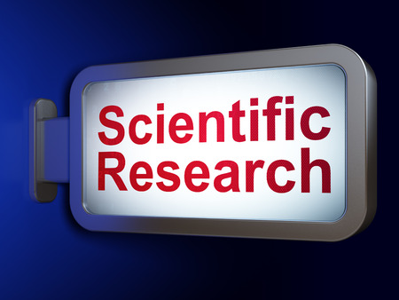 science scientific: Science concept: Scientific Research on advertising billboard background, 3D rendering