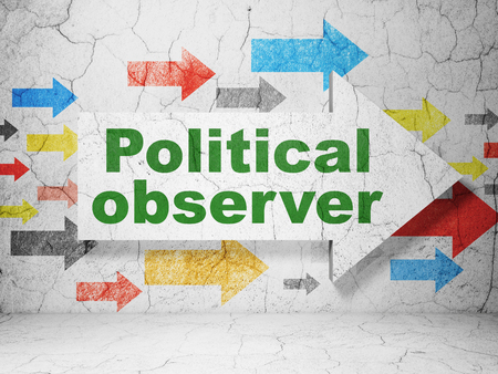 observer: Politics concept:  arrow with Political Observer on grunge textured concrete wall background, 3D rendering Stock Photo