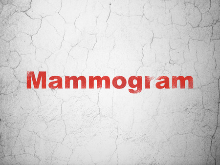 mammogram: Healthcare concept: Red Mammogram on textured concrete wall background Stock Photo