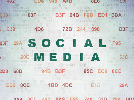 microblog: Social media concept: Painted green text Social Media on Digital Data Paper background with Hexadecimal Code Stock Photo
