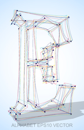 Abstract illustration of a Multicolor sketched uppercase letter E with Transparent Shadow.