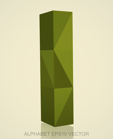 Abstract Khaki 3D polygonal lowercase letter L with reflection. Low poly alphabet collection.