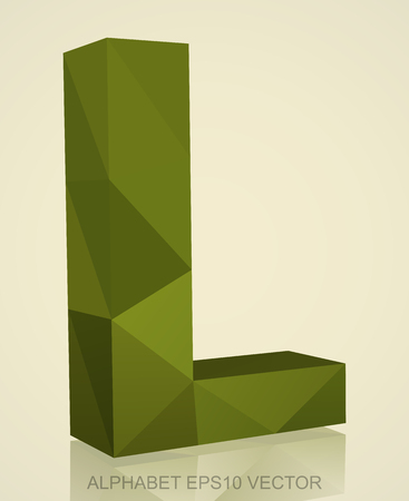 Abstract Khaki 3D polygonal uppercase letter L with reflection. Low poly alphabet collection.