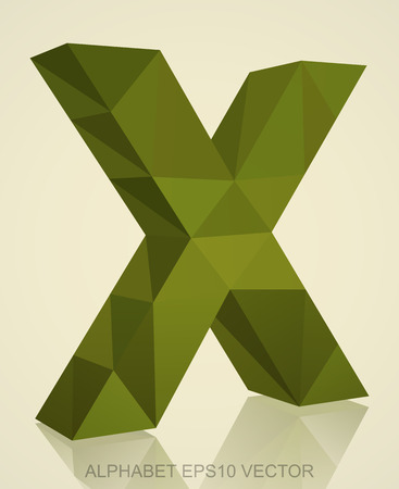 Abstract Khaki 3D polygonal uppercase letter X with reflection. Low poly alphabet collection.