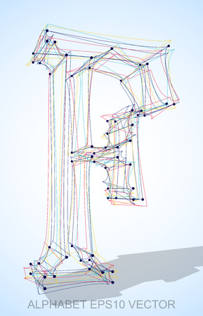 Abstract illustration of a Multicolor sketched uppercase letter F with Transparent Shadow.