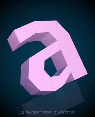 Abstract Pink 3D polygonal lowercase letter A with reflection. Low poly alphabet collection. Ilustração Vetorial