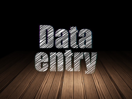 Data concept: Glowing text Data Entry in grunge dark room with Wooden Floor, black background